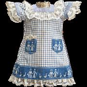 """Antique French Original Pinafore Dress   for Jumeau Bru Steiner Eden Bebe or German doll 15-16"""" (38-40cm)"""