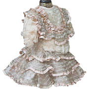 Wonderful Antique silk & gauze dress for Jumeau Bru Steiner E.J. Eden bebe doll about 15-16in tall