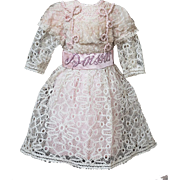"Antique Original French Dress for Jumeau Bru Gaultier Steiner Eden Bebe doll about  22-23"" (56-59cm)"