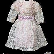 "Antique Original French Dress for Jumeau Bru Gaultier Steiner Eden Bebe doll about  22-23"" (56-59cm)"
