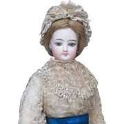 """18"""" (46cm) Very Beautiful Antique French Bisque Fashion Doll by Gaultier with Gorgeous Original Gown, in excellent condition!"""