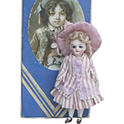 """4 1/2"""" (11cm) Antique French All Bisque All original Mignonette Doll in Presentation Box with trousseau"""