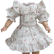 """Antique Original Bebe Jumeau Blue flowered factory dress for doll about 13-14"""",  c.1890, rare small size!"""