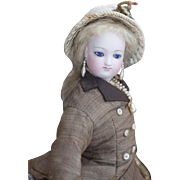 """15"""" (37cm) Antique French Fashion Parisienne poupee doll by Casimir Bru with head by Eugene Barrois, in original costume!"""
