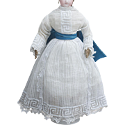 """Antique Original Two Pieces White Voile Dress Gown for Fashion Doll Huret Jumeau Rohmer Bru  Gaultier or other fashion doll about 15"""" tall"""