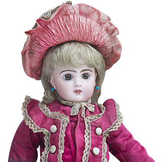 """14 1/2"""" (37cm) Antique French Jumeau bebe doll with closed mouth, size 5, in original costume, excellent condition!"""