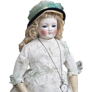 """22"""" (56 cm) Rare Antique Early  Large French Porcelain Doll with enamel eyes, by Blampoix, in original dress, excellent condition!"""
