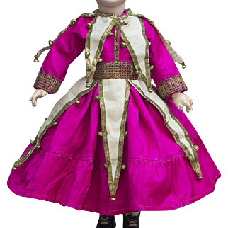 """Antique Silk Satin Dress Polichinelle Costume for Jumeau Bru Steiner Gaultier Eden bebe or other french doll about 23-24"""" tall (58-61cm)"""