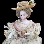"7 1/2"" (19 cm) Antique German All original Simon&Halbig lady dollhouse doll in original costume, c.1890"