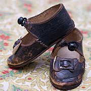 Antique French Original Brown Leather Bru Bebe doll Shoes that is marked Bru Jne Pari, size  9
