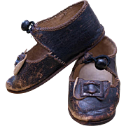 Antique French Original Brown Leather Bru Bebe doll Shoes that is marked Bru Jne Paris, size  9