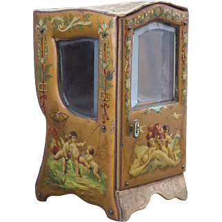 """7"""" (17cm) Rare Antique  French Small Sedan Chair with Painted Cherubic Scenes for doll,  a rare size of the desirable accessory!"""