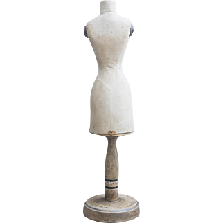 """28"""" (71 cm.) Rare Antique French Doll Sized Dress Mannequin with Wooden Pedestal"""