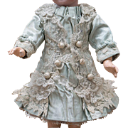 "Antique Aqua Silk Dress for Tiny Jumeau Bru Steiner other french bebe doll about  11"" (28cm)"
