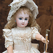 "20 /12"" (52 cm.) Antique French All Original Beautiful Closed Mouth and applied ears  French Bisque Bebe Doll by Emile Jumeau in original Box"