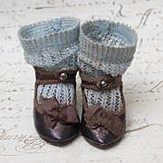Antique French Bronzed Leather Jumeau Bee Symbol Depose Shoes and Original Aqua Open Weave Cotton Socks  for Jumeau size 6. c.1880