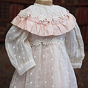 "Antique Original Dotted Silk Dress and Pink Organza Slip for Jumeau Bru Steiner Eden Bebe or German doll about 24-25"" tall"