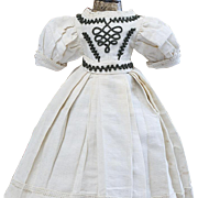 "Antique Original French Fashion Enfantine Pique Dress for Huret Rohmer Jumeau Bru Jumeau Gaultier Parisienne doll about 17-18"" tall"