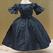 "Antique French Original Black Taffeta dress for fashion doll about 15-16"" tall"