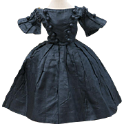 "Antique French Original Black Taffeta dress for fashion doll about 15-16"" tall"