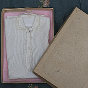 Rare Antique Original Stamped Huret Fashion doll Chemise in the box, fully hand stitched, c.1870