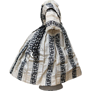 """Wonderful Antique French Silk Enfantine Dress for  Early Fashion Doll Huret, Rohmer, Jumeau, Bru, Gaultier and other about 17-17 1/2"""" tall"""