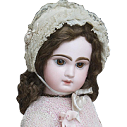 "27"" (69 cm)  Antique French All Original Brown-Eyed Bebe by Emile Jumeau Prodige in factory box, size 12"