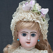 "17 1/2"" (45 cm) Antique  French Jumeau Bebe doll with open mouth, original clothes, Size 7"