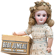 "15 1/2"" (40 cm) Antique French All Original Bisque Bebe Jumeau in Presentation Chemise, Jumeau shoes and Box"
