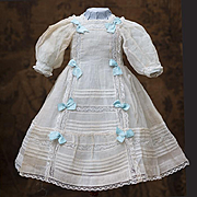 "Very Beautiful Antique Original Organza Dress and Slip for Jumeau Bru Steiner Eden Bebe or German doll about 25-26"" tall"