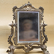 Antique French Psyche / Cheval Mirror with metal frame for fashion doll Huret Rohmer Jumeau Bru Gaultier and other