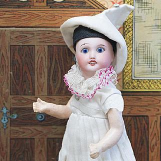 """7"""" (18 cm) Antique French All original Columbine doll SFBJ 301, c.1900"""