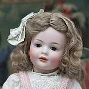 "15"" (36 cm) Antique German Bisque Glass-Eyed Art Character Doll 141,by Hertel & Schwab, glass-eyed version of the rare character in appealing cabinet size"