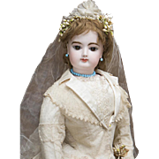 """29"""" (74 cm) Fabulous Antique French Large Exhibition: Size Fashion Gaultier Doll in Original Wedding Gown Costume"""