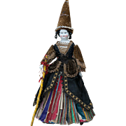 """12 1/2"""" (32 cm) Rare Antique German All Original Porcelain Fortune -Telling Doll for the French Market, c.1880"""