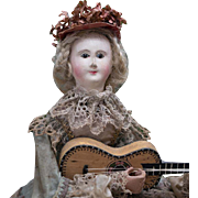 """14"""" (35 cm) Rare French All Original Musical Mechanical doll automaton  """"Lady with Mandolin"""" by Theroude, c. 1850, with Au Nain Bleu label"""