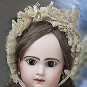"""25"""" Very Beautiful Antique French Jumeau Bebe Closed mouth, original dress, size 11"""