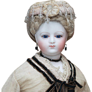 "14"" (35 cm) Rare Antique French Fashion Parisienne Poupee Doll from maison Simonne, in original costume, c.1865."