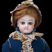 "14"" (36 cm.) Antique French Fashion Wide-Eyed Doll by Jumeau with Signed Jumeau Body, original dress, c.1878"