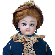 "14"" (36 cm.) Antique French Fashion Wide-Eyed Doll by Jumeau with Signed Jumeau Body, original dress, c.1878"