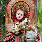"19"" (48 cm) Rare and Beautiful All-Original Antique  French Automaton by Lambert - Bisque Jumeau Bebe  Doll with Surprise, c.1890"