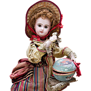 """19"""" (48 cm) Rare and Beautiful All-Original Antique  French Automaton by Lambert - Bisque Jumeau Bebe  Doll with Surprise, c.1890"""