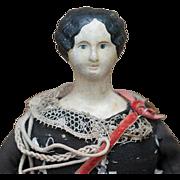 "11"" (28 cm.)  Rare Antique French Papier Mache Doll  in Original Zouave Vivandiere Costume, c.1850"