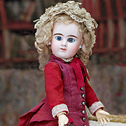"16"" (41 cm) Antique Pretty All Original French Bisque Blue-eyed Bebe with closed mouth by Denamur, c.1890"