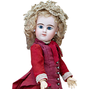 """16"""" (41 cm) Antique Pretty All Original French Bisque Blue-eyed Bebe with closed mouth by Denamur, c.1890"""