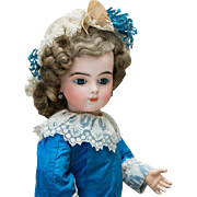 """19"""" (49 cm) Very Beautiful Antique French Bisque Bebe Bru doll with Original Body and Lovely Costume"""