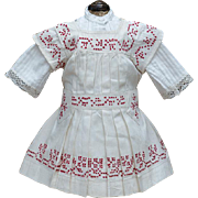 """Antique French Original White Cambric Pinafore Dress with red Cross-Stitch for 18-19"""" Jumeau Bru Steiner Eden Bebe , other french doll"""