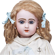"""21"""" (54 cm) Very Lovely Antique French Bisque Bebe Jumeau in Original Sailor dress, c.1895"""