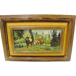 Western Oil Painting Cowboy ,Pack, Horses ,Mountains, Signed Sheryl Bodily
