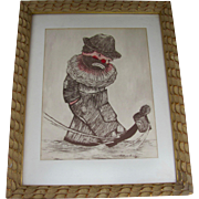Singed Color Etching by Swartz Sad Clown Kicking Can